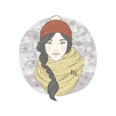 Scorpio zodiac sign Winter season illustration.