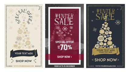 Set web Banner winter sale with ribbon, tree and snowflakes