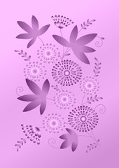 Elegant card with flowers on lilac background