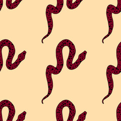 Seamless pattern with hand drawn snakes
