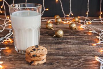 Christmas. Milk with Cookies. Horizontal.