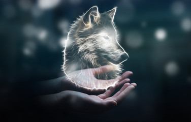 Person holding fractal endangered wolf illustration 3D rendering