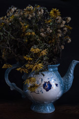 Beautiful blooming branches in vase isolated on black