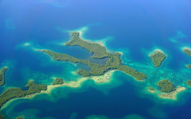 Aerial view of mangrove islands in the archipelago of Bocas del Toro, Caribbean sea, Panama, Central America