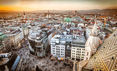 Fotobehang Wenen Vienna at sunset, aerial view from above the city