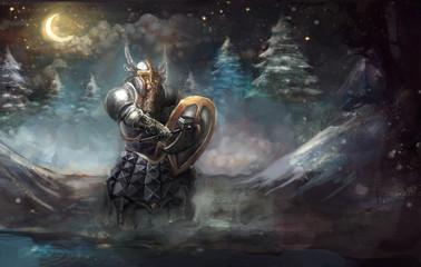 Dwarf knight on winter cold