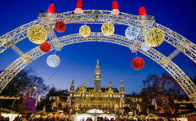 VIENNA, AUSTRIA - 6 DECEMBER 2016: People at the traditional Christmas Market in front of the City Hall (Rathaus), Wien, Austria, Europe
