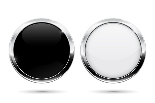 Round buttons with metal frame. Black and white shiny 3d icons