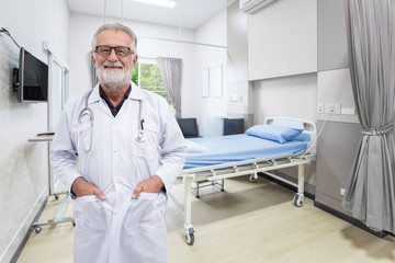 Senior doctor smile in the hospital room