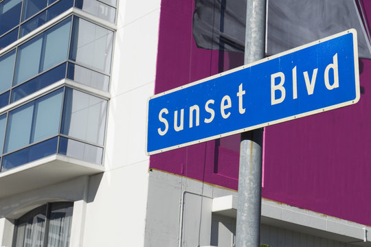 Sunset Blvd street sign in Los Angeles, California.