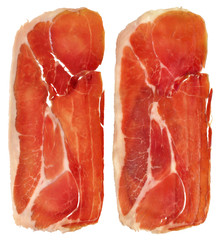 Two Prosciutto Dry Cured Pork Ham Rashers Isolated On White Background