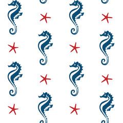 blue seahorses and red starfish on a white background sea theme