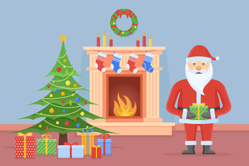Santa Claus in Christmas room interior with fireplace, tree and gifts. Holiday decorations. Flat style vector illustration.