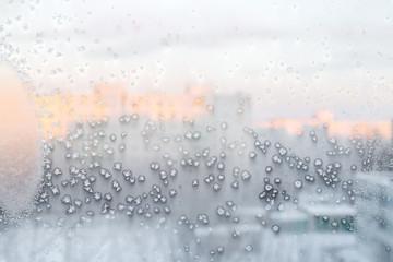 frozen winter window, ice background