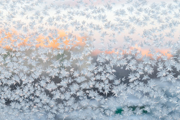 frozen crystals on the window, winter background