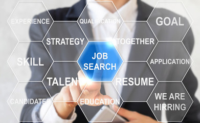 Businessman presses job search collocation in cloud of hexagons. Woman touched job search button. Find work icon concept mobile, strategy, success, web, search, internet technology. We are hirring.