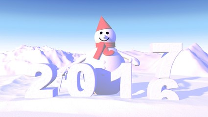 2017 New Year background with snowman