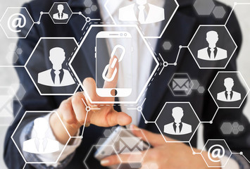 Smartphone link symbol security business concept teamwork icon virtual hexagon screen. Internet technology concept. Businessman with smart phone presses sign mobile chain. Security, web, communication