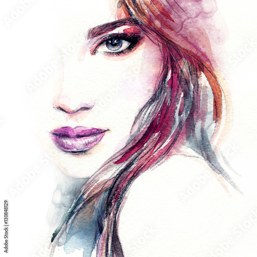 """Woman portrait. Fashion illustration. Watercolor painting ..."