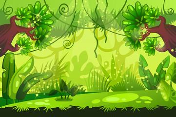 cartoon jungle background. tropical landscape. vector