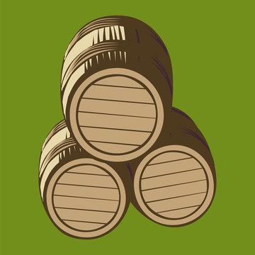 Illustration of isolated wooden barrels