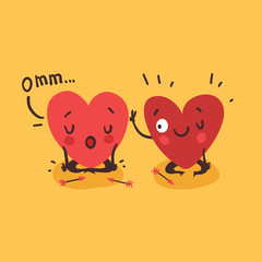 Couple in love. Two happy hearts doing yoga together. Funny idea for yoga studio or yoga class