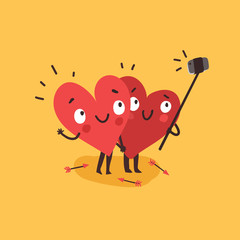 Couple in love. Two happy hearts making selfie. Happy Valentine's day vector card
