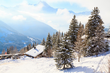 Winterlandschaft in der Schweiz, Villars-sur-ollon.