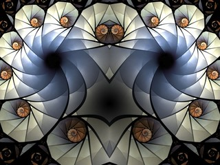 Mysterious animal's head with eyes. Colorful fractal. Beautiful backgraund.