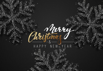 Christmas background, with beautiful bright snowflakes realistic shine glitter. Merry Christmas and Happy New Year poster, greeting card. Xmas holidays