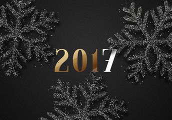 Happy New Year 2017. Christmas background, with beautiful bright snowflakes realistic shine glitter. Merry Christmas poster, greeting card. Xmas holidays