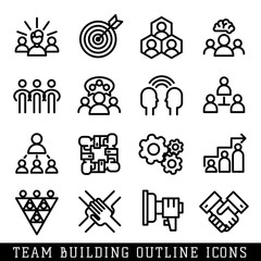Team building icons vector.