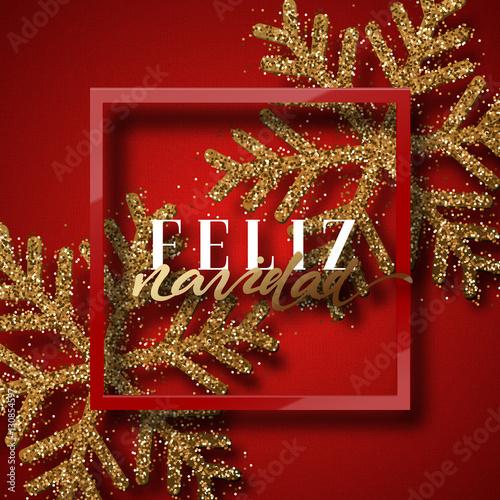 Merry christmas spanish inscription feliz navidad christmas spanish inscription feliz navidad christmas background red beautiful bright snowflakes m4hsunfo