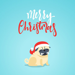 Christmas characters cute pet dog. Animal dog pug style flat