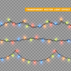 Garlands, Christmas decorations lights effects. Isolated vector design elements. Glowing lights for Xmas Holiday greeting card design. Colored led light and luminous neon.