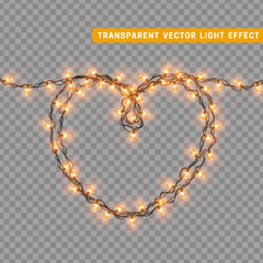 Christmas lights isolated realistic design elements. Glowing lights for Xmas Holiday greeting card design. Garlands, Christmas decorations. Led neon lamp