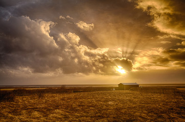 Iceland sunset Wall mural