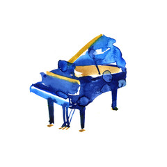 sketch watercolor grand piano on white background