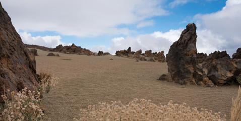 desert landscape panorama with rocks, blue sky