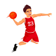 Basketball player in red uniform