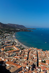 View of the town of Cefalu, Sicily, Italy from the La Rocca hilltop