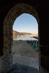 Cefalu's beach in Sicily, Italy.