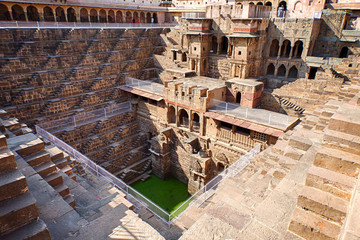 Chand Baori, a stepwell situated in the village of Abhaneri near Jaipur, India