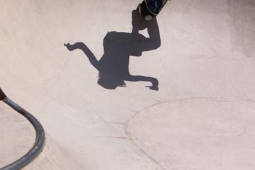 Skateboarder in skate park
