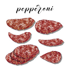 pepperoni with slices on a colourful background. Vector