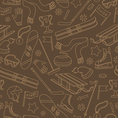 Seamless pattern on the theme of winter sports, simple contour icons on brown background