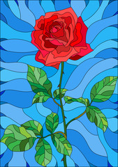 Illustration in stained glass style flower of red rose on a blue background