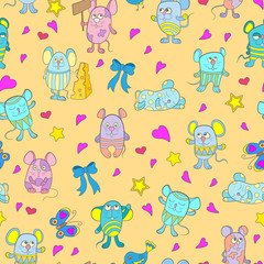 Seamless pattern with funny cartoon mouses on a yellow background
