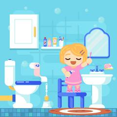 Smile girl brushing teeth shower in bathroom. Modern flat illustration