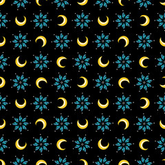 Magical seamless pattern with diamonds stars and moons on black backdrop. Vector illustration